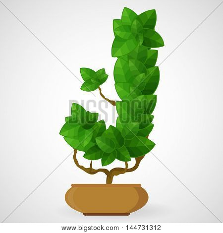 Letter J. Tree in the pot. Vector alphabet letters made from green leaves.