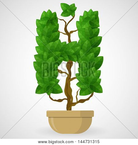 Letter H. Tree in the pot. Vector alphabet letters made from green leaves.
