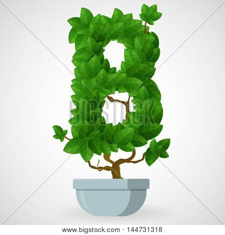Letter B. Tree in the pot. Vector alphabet letters made from green leaves.