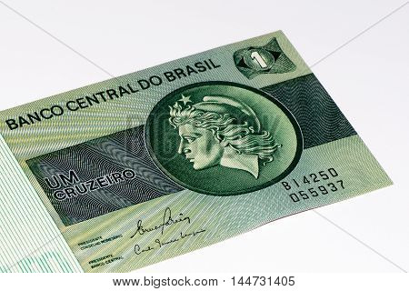 1 Brasilian cruzeiro bank note. Cruzeiro is the former currency of Brasil