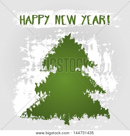 Grunge card Happy New Year! Abstract tree silhouette text wish. Scribble.