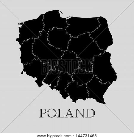Black Poland map on light grey background. Black Poland map - vector illustration.