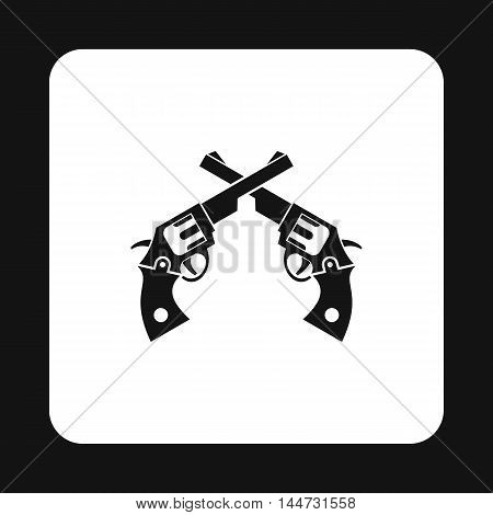 Revolvers icon in simple style isolated on white background. Weapons symbol