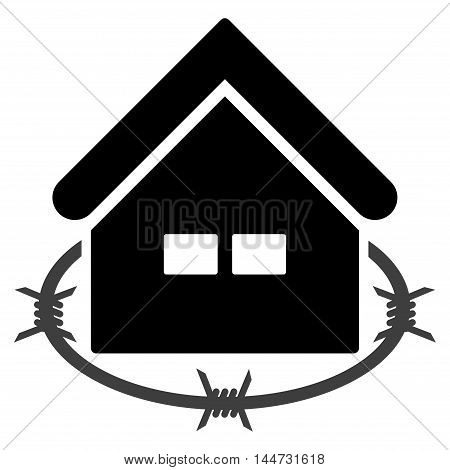 Prison Building icon. Glyph style is flat iconic symbol, black color, white background.