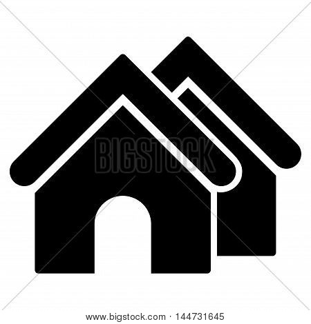 Real Estate icon. Glyph style is flat iconic symbol, black color, white background.