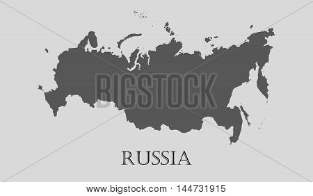 Gray Russia map on light grey background. Gray Russia map - vector illustration.