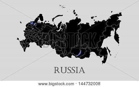 Black Russia map on light grey background. Black Russia map - vector illustration.