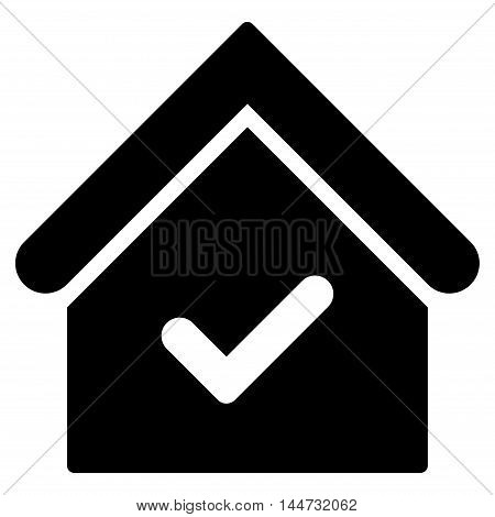 Valid House icon. Glyph style is flat iconic symbol, black color, white background.