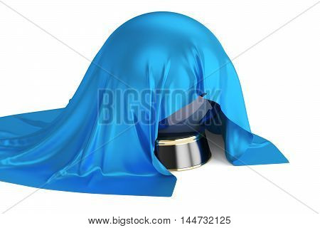 Blue Cloth Covered Crystal Ball 3D rendering