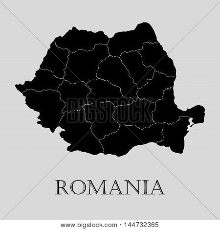 Black Romania map on light grey background. Black Romania map - vector illustration.