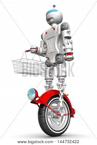 Humanoid robot on unicycle standing on a white surface and holds a grocery basket. Robot goes shopping. Isolated. 3D Illustration