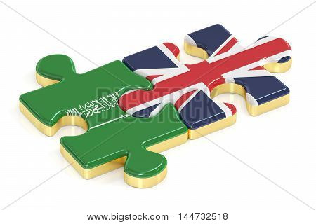 Saudi Arabia and UK puzzles from flags 3D rendering