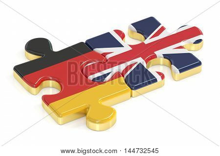 Great Britain and Germany puzzles from flags 3D rendering