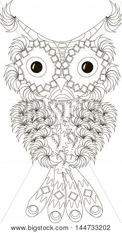 Zentangle, stylized black and white owl with folded wings, hand drawn, vector illustration