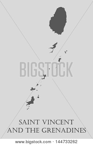 Gray Saint Vincent and Grenadines map on light grey background. Saint Vincent and Grenadines map - vector illustration.