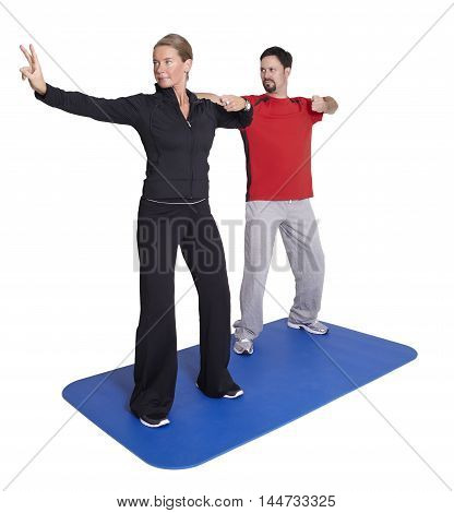 Personal trainer workout with client on white background