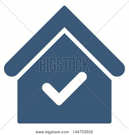Valid House icon. Glyph style is flat iconic symbol, blue color, white background.