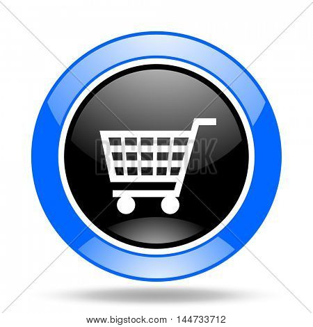 cart round glossy blue and black web icon