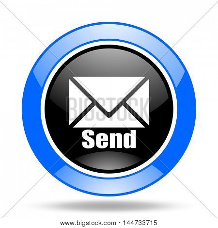 send round glossy blue and black web icon