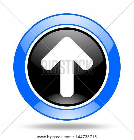 up arrow round glossy blue and black web icon