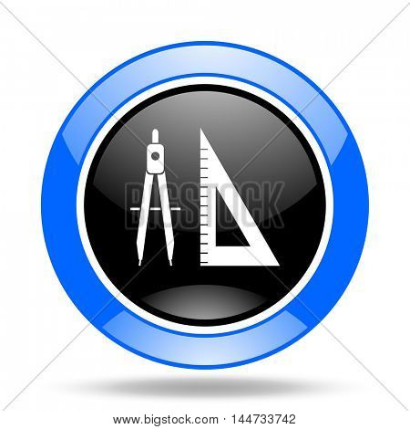 learning round glossy blue and black web icon