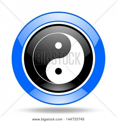 ying yang round glossy blue and black web icon