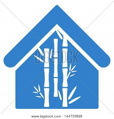 Bamboo House icon. Glyph style is flat iconic symbol, cobalt color, white background.