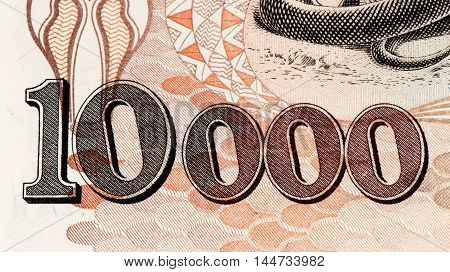 10000 Brasilian cruzeiro bank note. Cruzeiro is the former currency of Brasil