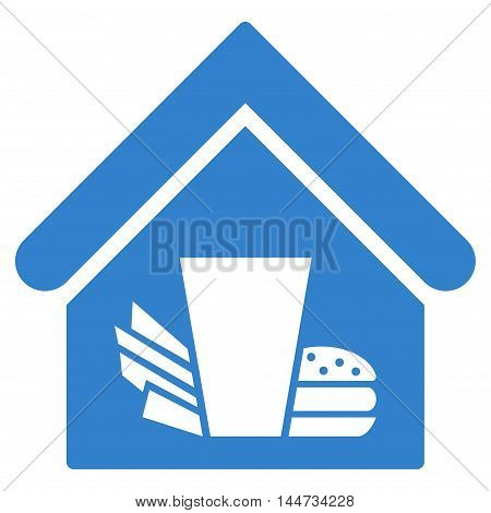Fastfood Cafe icon. Glyph style is flat iconic symbol, cobalt color, white background.