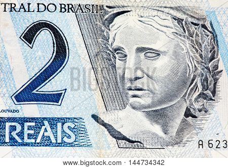 2 Brasilian reals bank note. Real is national currency of Brasil