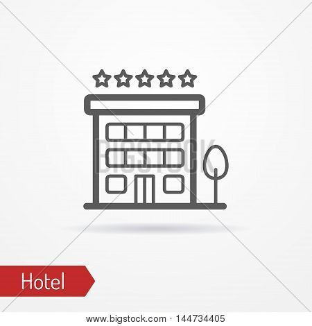 Abstract simplistic hotel icon in silhouette line style with shadow. Small building with a tree and five stars. Travel vector stock image.