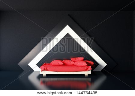 Elegant interior with diamond-shaped black-and-white pattern on wall and red couch with pillows. 3D Rendering