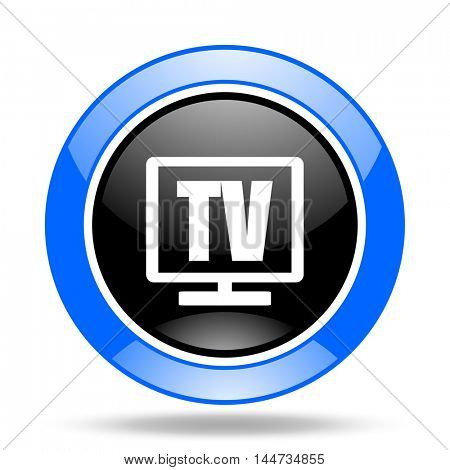 tv round glossy blue and black web icon