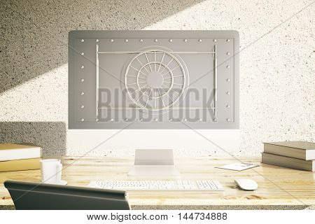 Modern workplace with coffee cup other items and abstract bank vault on computer monitor. Online banking concept. 3D Rendering
