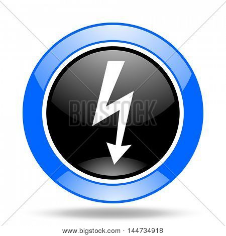 bolt round glossy blue and black web icon