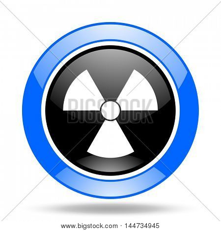 radiation round glossy blue and black web icon