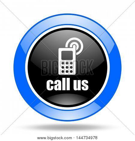 call us round glossy blue and black web icon