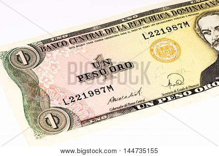 One peso oro bank note of the Domenican Repulic made in 1988