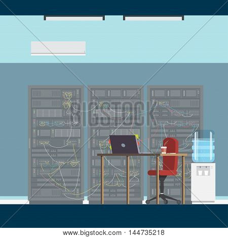 Server room. Flat design Workplace Admin. water dispenser