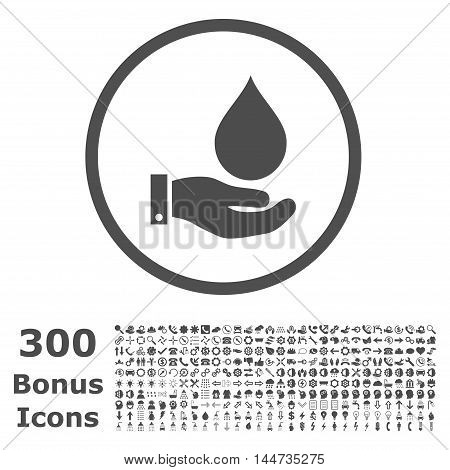 Water Service rounded icon with 300 bonus icons. Vector illustration style is flat iconic symbols, gray color, white background.