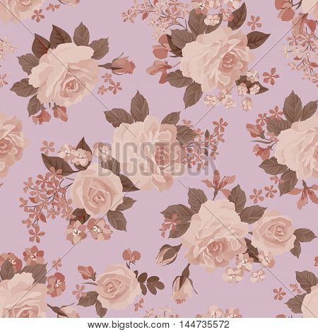 Floral pattern. Flower rose posy plant pattern in retro style. Flourish ornamental background