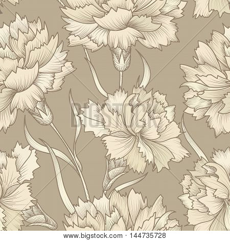 Floral retro seamless pattern. Flower background. Floral seamless texture with carnation flowers. Flourish ornament etching