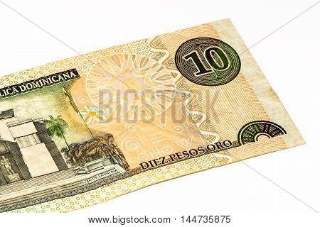Ten peso oro bank note of the Domenican Repulic made in 2002