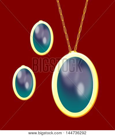 Turquoise sets of earrings and necklace over brown background.