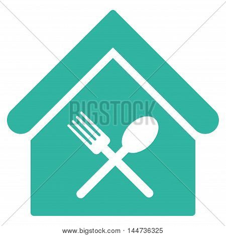 Food Court icon. Glyph style is flat iconic symbol, cyan color, white background.