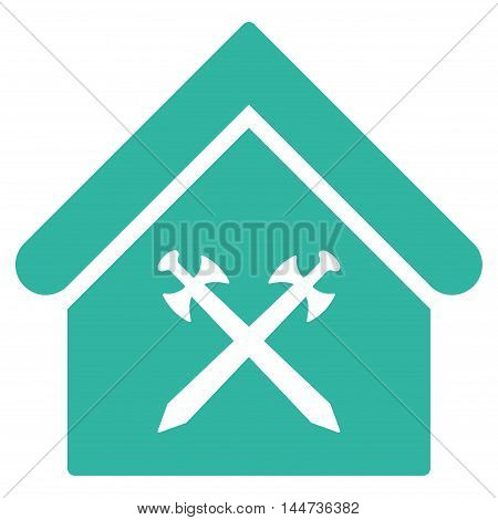 Guard Office icon. Glyph style is flat iconic symbol, cyan color, white background.