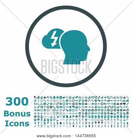 Brainstorming rounded icon with 300 bonus icons. Vector illustration style is flat iconic bicolor symbols, soft blue colors, white background.