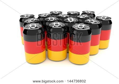 Packaging Waste In Germany: German Flag Aluminum Cans Isolated On A White Background 3d illustration