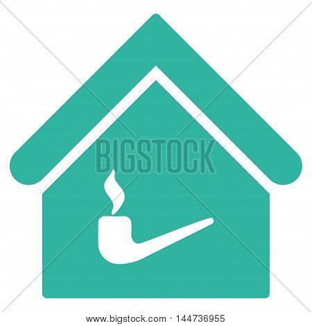 Smoking Room icon. Glyph style is flat iconic symbol, cyan color, white background.