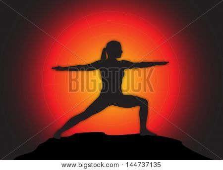 Yoga Warrior Pose Sun Background